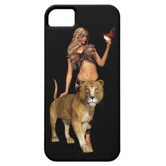 Prehistoric Fantasy Girl and Lion iPhone SE/5/5s Case