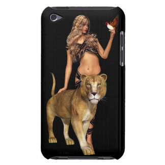 Prehistoric Fantasy Girl and Lion iPod Touch Case