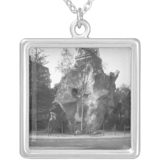 Prehistoric house silver plated necklace