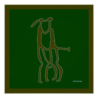 Prehistoric Man Cave Wall Decor Kissing Couple Perfect Poster