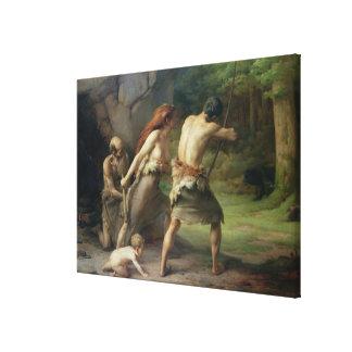 Prehistoric Man Hunting Bears, 1832 Canvas Print