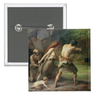 Prehistoric Man Hunting Bears, 1832 Pinback Button