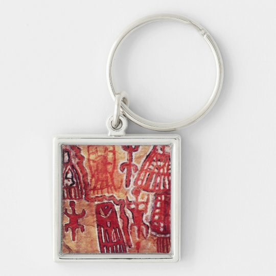 Prehistoric rock painting keychain