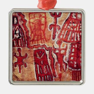 Prehistoric rock painting metal ornament