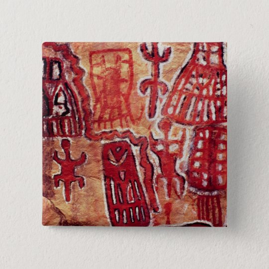 Prehistoric rock painting pinback button