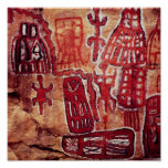 Prehistoric rock painting poster
