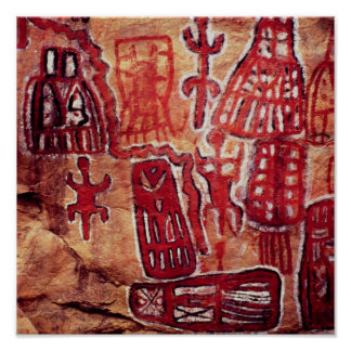 Prehistoric rock painting posters