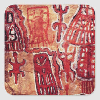 Prehistoric rock painting square stickers