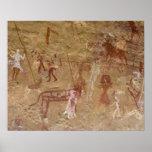 Prehistoric rock paintings, Akakus, Sahara Poster