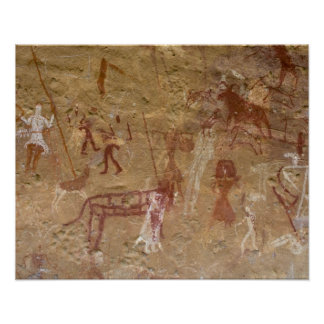 Prehistoric rock paintings, Akakus, Sahara Poster