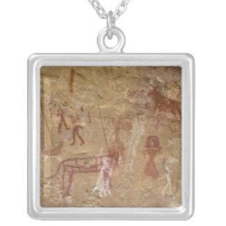 Prehistoric rock paintings, Akakus, Sahara Square Pendant Necklace