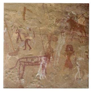 Prehistoric rock paintings, Akakus, Sahara Tile