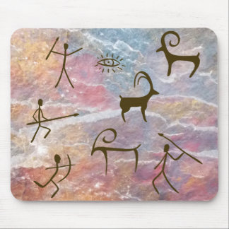 Prehistoric Style Cave Painting Hunters and Animal Mouse Pad