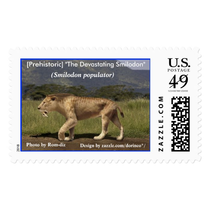 """[Prehistoric] """"The Devastating Smilodon"""" Postage Stamp"""