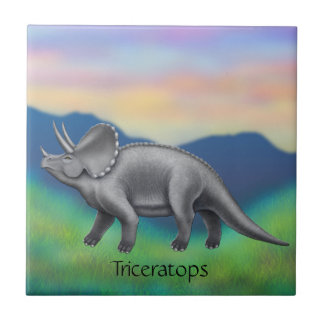 Prehistoric Triceratops Dinosaur Ceramic Tile