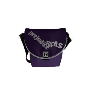 Prejudice Sucks custom messenger bag