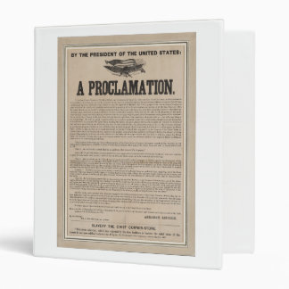 Preliminary Emancipation Proclamation Broadside 3 Ring Binder