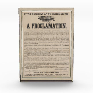 Preliminary Emancipation Proclamation Broadside Acrylic Award