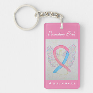 Premature Birth Awareness Ribbon Angel Keychain