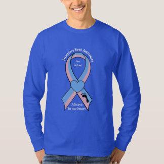 Premature Birth Awareness Ribbon with Footprint T-Shirt