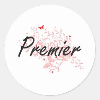 Premier Artistic Job Design with Butterflies Classic Round Sticker