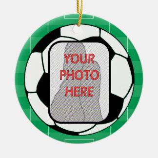 Premio adaptable del balón de fútbol de la foto adorno navideño redondo de cerámica