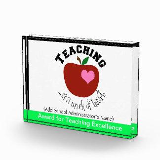 Premio de acrílico de enseñanza del bloque
