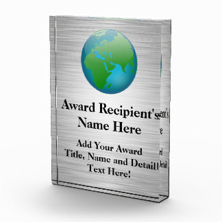 Premio de acrílico personalizado globo del color