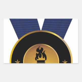 Premio de Blue Ribbon de la medalla de oro de la Pegatina Rectangular