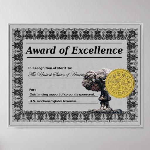 Premio de la excelencia (Estados Unidos) Póster