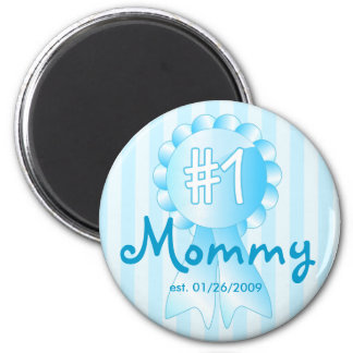 Premio de la mamá del número 1 (azul) imán redondo 5 cm