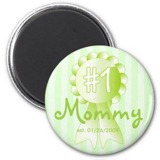 Premio de la mamá del número 1 (verde) imán redondo 5 cm