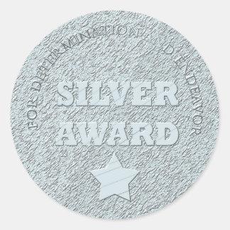 Premio de la plata de la escuela de motivación pegatina redonda