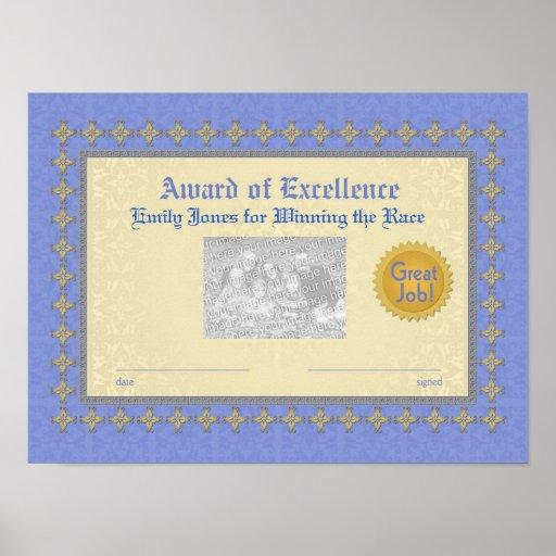Premio del azul y del oro de la excelencia posters