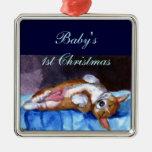 Premio del cuadrado del ornamento del Corgi Galés  Adornos De Navidad