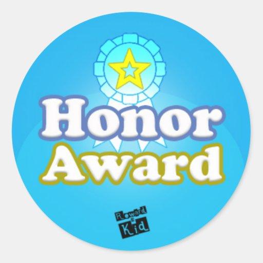 Premio del honor (fije de 20) pegatina redonda