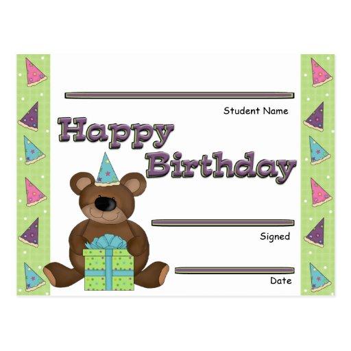 Premio del reconocimiento del cumpleaños del postal