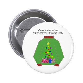 Premio feo del suéter del navidad pin redondo de 2 pulgadas