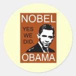 Premio Nobel de la Paz Obama Pegatina Redonda