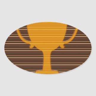 Premio NVN698 de la taza del trofeo de la raya de  Calcomanías Ovaladas Personalizadas