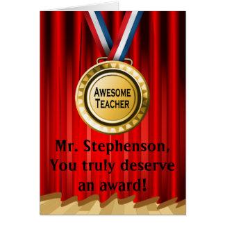 Premio personalizado del profesor que aprecia el tarjeta de felicitación