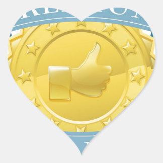 Premio superior de la calidad pegatina en forma de corazón