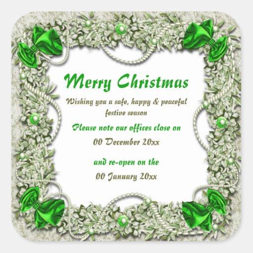 Premisas de oficina del navidad cerradas a paz pegatinas cuadradases personalizadas