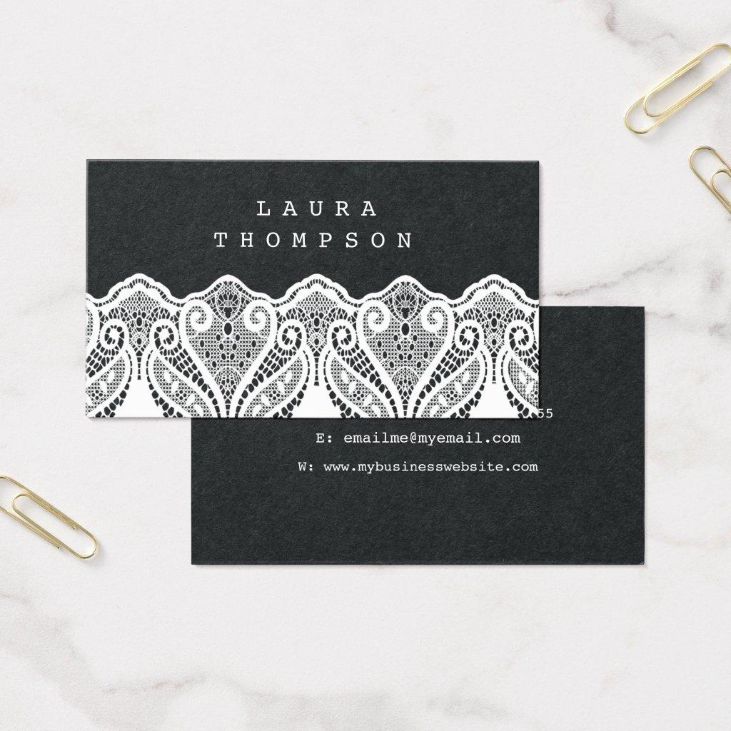 Premium Black White Lace Ladies Business Cards