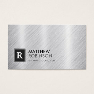 Brushed metal business cards templates zazzle premium brushed metal with monogram look business card colourmoves