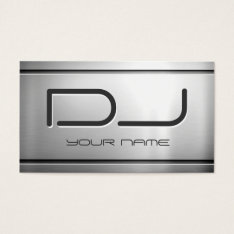 Premium Brushed Stainless Steel Metal - Music Dj Business Card at Zazzle