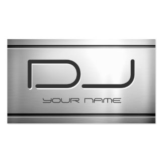 Premium Brushed Stainless Steel Metal - Music DJ Double-Sided Standard Business Cards (Pack Of 100)