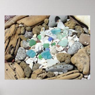 Premium Canvas Matte Beach Sea Glass Driftwood Poster