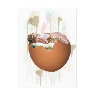 premium canvas with baby in egg shell
