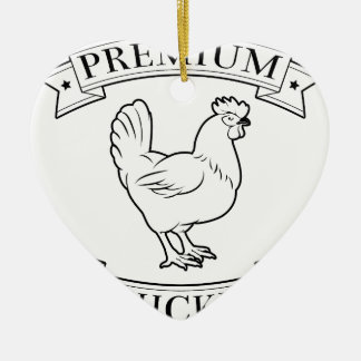 Premium chicken icon Double-Sided heart ceramic christmas ornament